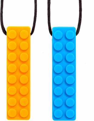 Sensory Chew Necklace Chewing Tool–(2 Pack with Extra Cord and Clasp)