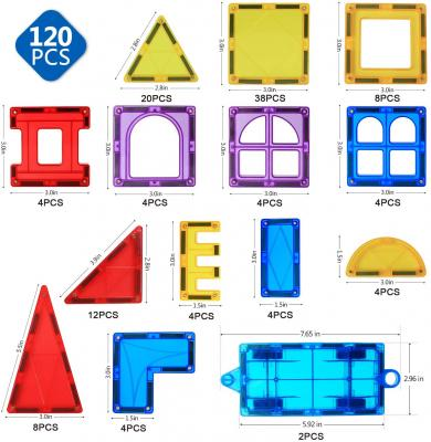 Magblock 120 PCS Magnetic Blocks, Magnetic Tiles Building Blocks for Kids Toys