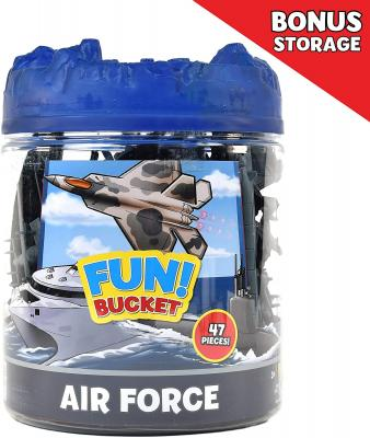 Sunny Days Entertainment Military Air Force Bucket - 47 Assorted Battleships and Accessories Toy Play Set