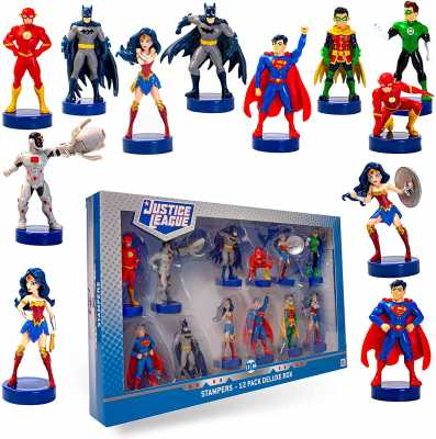 Justice League Stampers, 12-Pack – Self-Inking DC Toys