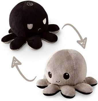 TeeTurtle | The Original Reversible Octopus Plushie - Black and Gray