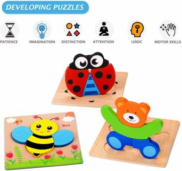 MAGIFIRE Wooden Animal Jigsaw Puzzles for Toddlers