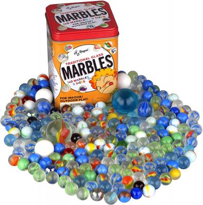 Regal Games 160 Count Traditional Glass Marbles with a Storage Tin, 3 Sizes, Variety of Patterns