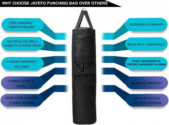 Jayefo Sports Punching Bag Heavy Hanging Boxing Bags for Muay Thai