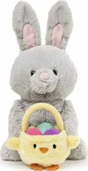 GUND Easter Bunny with Basket, Gray, 10