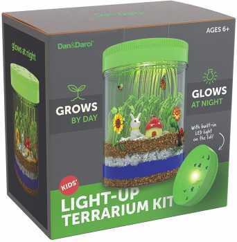 Light-up Terrarium Kit for Kids with LED Light on Lid