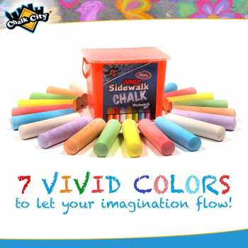 Chalk City Sidewalk Jumbo Chalk, 20 Count, 7 Different Colors, Non-Toxic