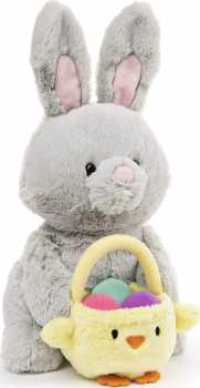 GUND Easter Bunny with Basket, Gray, 10  inch