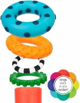 Sassy Stacks of Circles Stacking Ring STEM Learning Toy, 9 Piece Set