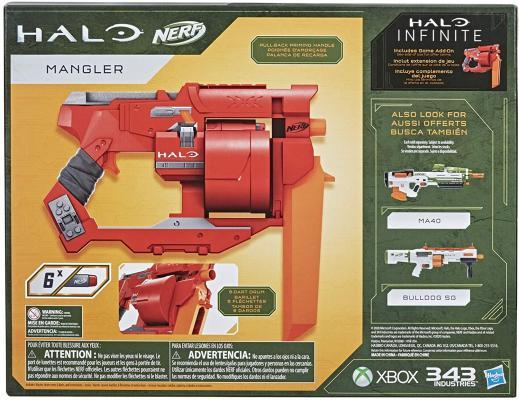 NERF Halo Mangler Dart Blaster - Pull-Back Priming Handle, Rotating 6-Dart Drum