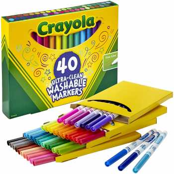 Crayola Ultra Clean Washable Markers, Fine Line Marker Set