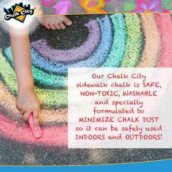 Chalk City Sidewalk Jumbo Chalk, 20 Count, 7 Different Colors, Non-Toxic