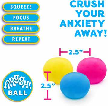 Power Your Fun Arggh Mini Stress Balls for Adults and Kids - 3pk