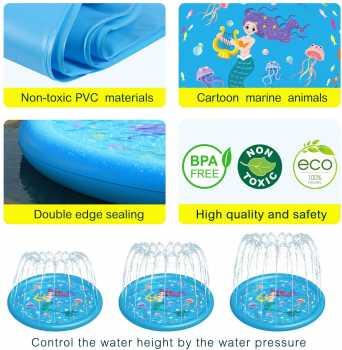 HITOP Kids Sprinklers for Outside, Splash Pad Pool 3-in-1