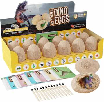 Dig a Dozen Dino Eggs Dig Kit -  12 Unique Dinosaur Filled Eggs - Archaeology Science STEM