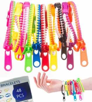"UpBrands 48 Fidget Toys Friendship Zipper Bracelets 7 ½"""