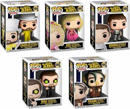 Funko Pop! Set of 5 - It's Always Sunny in Philadelphia (IASIP) - Charlie as The Dayman, Princess Dee, Frank as Troll, Mac as The Nightman and Dennis as The Dayman