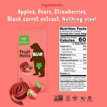 BEAR Real Fruit Snack Rolls - Gluten Free, Vegan, and Non-GMO 12 Pack