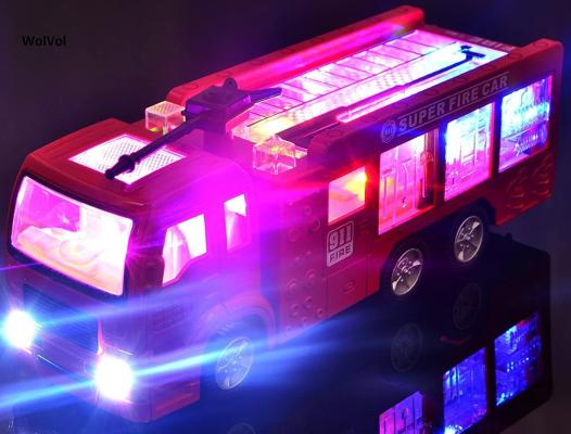 WolVolk Electric Fire Truck Toy with Stunning 3D Lights and Sirens