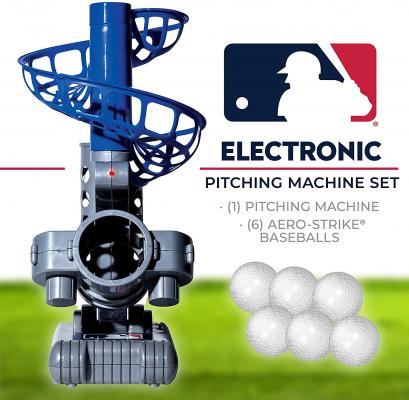 Franklin Sports MLB Electronic Baseball Pitching Machine – Height Adjustable – Ball Pitches Every 7 Seconds – Includes 6 Plastic Baseballs