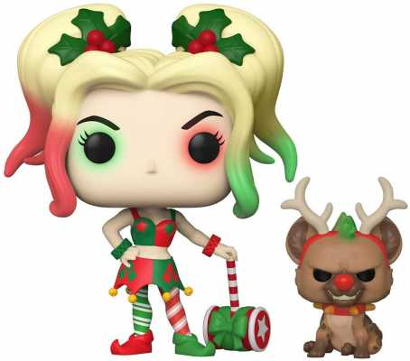 Funko Pop! DC Heroes: DC Holiday - Harley Quinn with Helper, Multicolor, 3.75 inches