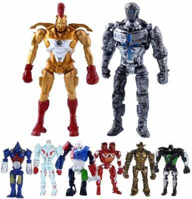 Real Steel 8pcs/Set Toys 5inch PVC Action Figure Atom Midas Ambush Metro Noisey Iron Boy Zeus Collectible Robots Toys
