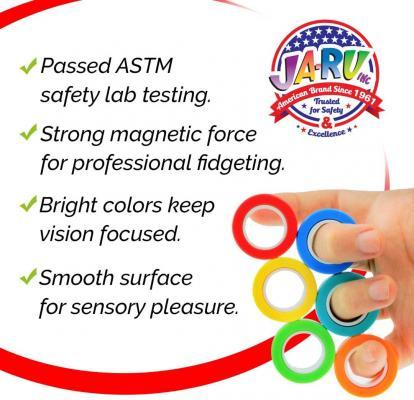 6 Magnetic Rings Toys Finger Fidget Toy (2 Sets, 3 Rings Each)