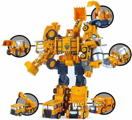 5 Pack TransTruck Transforms to Tractor and Robot Action Figures