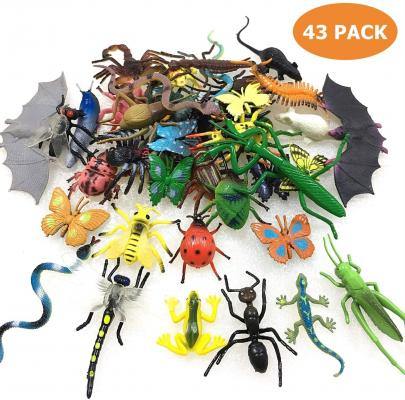 43 Pack Fake Bugs Mini Realistic Insects Toys