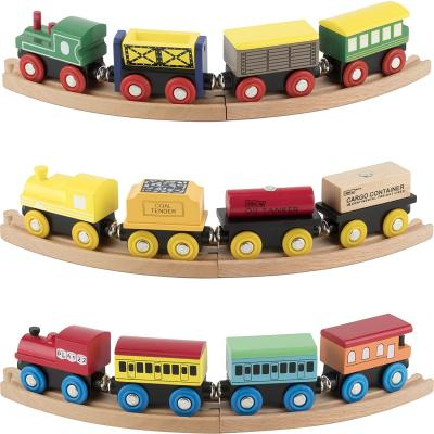 Play22 Wooden Train Set 12 PCS - Train Toys Magnetic Set Includes 3 Engines