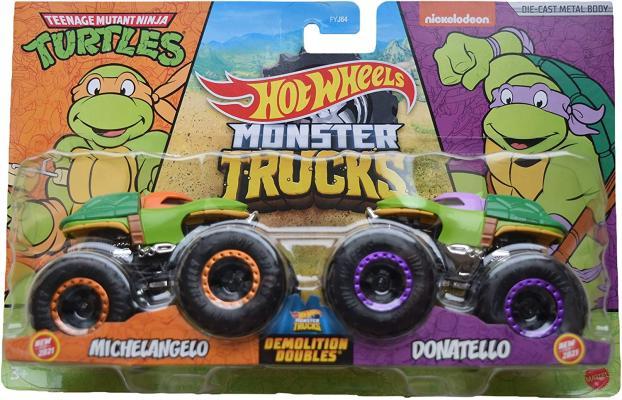 Hot Wheels Monster Trucks Demolition Doubles 1:64 Die-Cast 2-pack Teenage Mutant Ninja Turtles Michelangelo vs Donatello