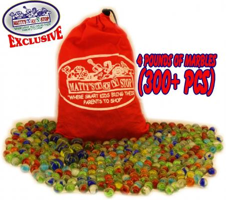 Deluxe 4 Pounds (300+ Count) of Cats Eyes Marbles & Shooters with Exclusive Matty's Toy Stop Storage Bag