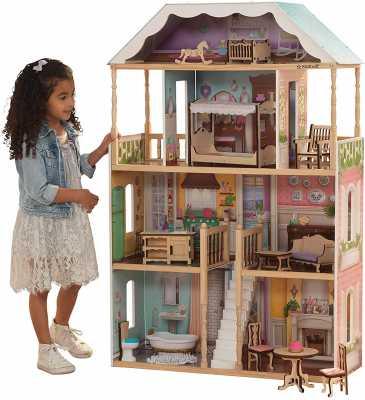 KidKraft KidKraft Charlotte Classic Wooden Dollhouse with EZ Kraft Assembly, 14-Piece Accessory Set
