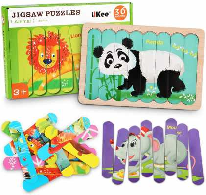 LiKee Animals Wooden Jigsaw Puzzles Pattern Blocks Sorting and Stacking Toys