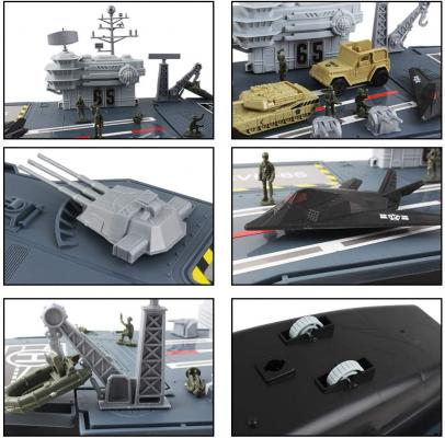 deAO Aircraft Carrier Toy with Scale Model Warplanes Warships Military Vehicles Battleship Helicopter and Armoured Trucks