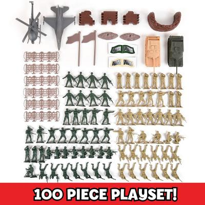 Military Battle Group Bucket - 100 Assorted Soldiers and Accessories