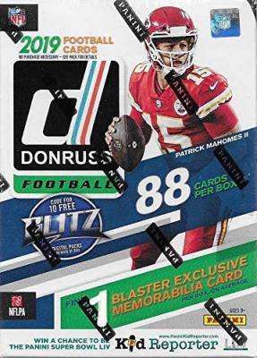 2019 Donruss Football Unopened Blaster Box of Packs with One Exclusive Memorabilia Card and 11 Rookie Cards in Each Box