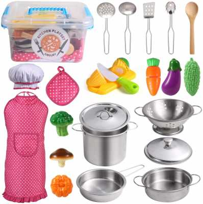 Juboury Kitchen Pretend Play Toys with Stainless Steel Cookware Pots and Pans Set