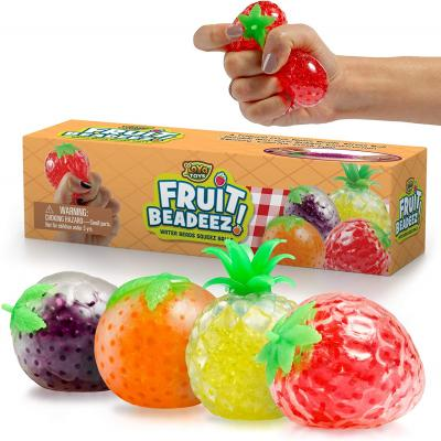 Beadeez Squishy Fruit Stress Balls Toy (4-Pack) Tropical Designs Filled with Colorful