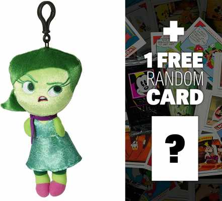 Disney Pixar Disgust: 8inch Inside Out Zippered Clip Plush Doll + 1 Free Classic Disney Trading Card Bundle