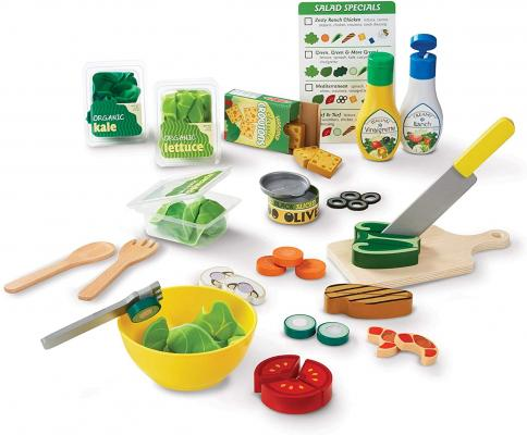 Melissa & Doug Slice and Toss Salad Play Food Set - 52 Wooden and Felt Pieces