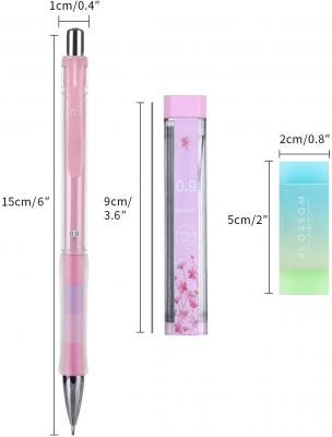 Mechanical Pencil, ExcelFu 4 Pieces 0.9 mm Mechanical Pencils with 4 Tubes 2B Lead Refills and 2 Pieces Erasers