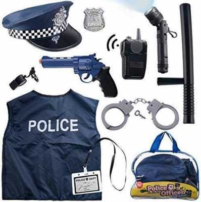 12 Pcs Police Costume for kids with Toy Role Play Kit with police badge, handcuffs,kids flashlight