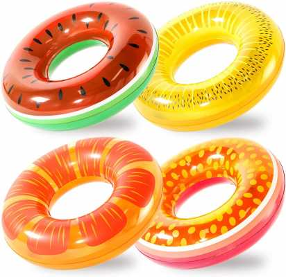 FindUWill Inflatable Pool Floats 4 Pack Fruit Swim Tubes Rings