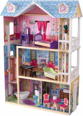 KidKraft My Dreamy Wooden Dollhouse with Lights and Sounds, Elevator and 14 Accessories