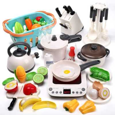 CUTE STONE Pretend Play Kitchen Toy with Cookware Steam Pressure Pot and Electronic Induction Cooktop