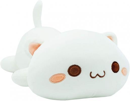 Cute Kitten Plush Toy Stuffed Animal Pet Kitty Soft Anime Cat Plush Pillow for Kids (White A, 12inch)