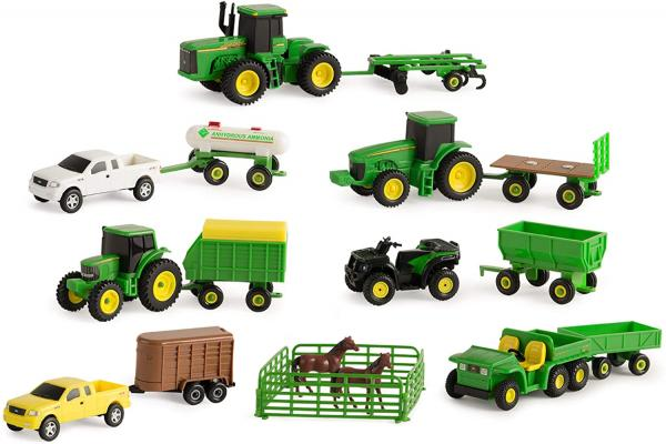 TOMY John Deere Toy Truck & Toy Tractor With Trailers 20-Piece Farm Toy Value Set