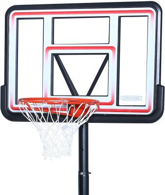 Lifetime 1269 Pro Court Height Adjustable Portable Basketball System, 44 Inch Backboard Red/White