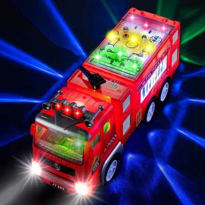 Electric Fire Truck Kids Toy - with Bright Flashing 4D Lights & Real Siren Sounds